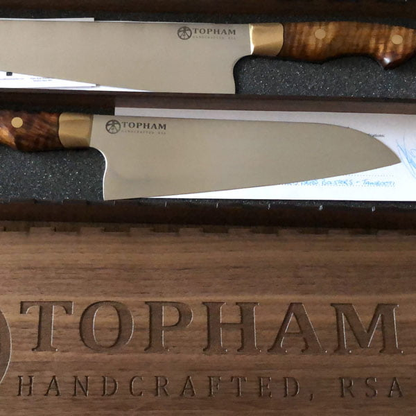 Finished knives in their walnut box