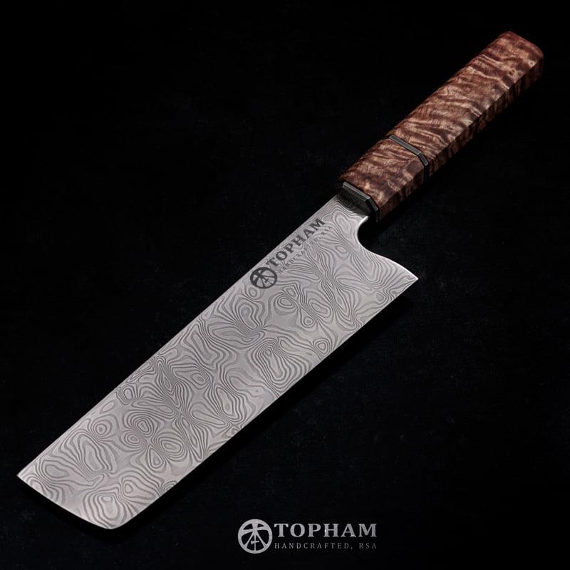 Stainless Damascus Nakiri Chef Knife by Anthony Topham