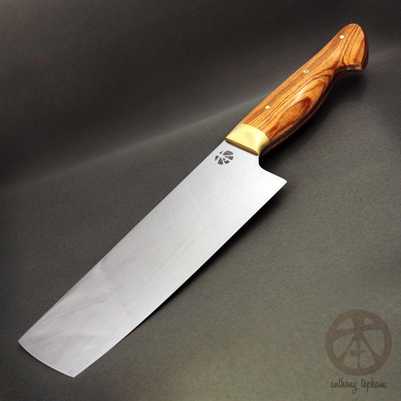 Nakiri knife AEB L African wild olivewood brass | Topham Knife Co