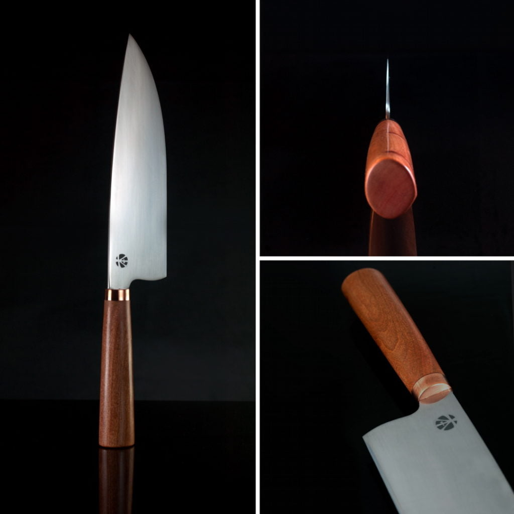 Chef Knife with N690, Copper and Red Ivory